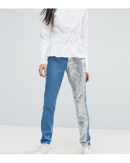 Noisy May Tall - Black Mom Jean With Sequin Panel Detail - Lyst