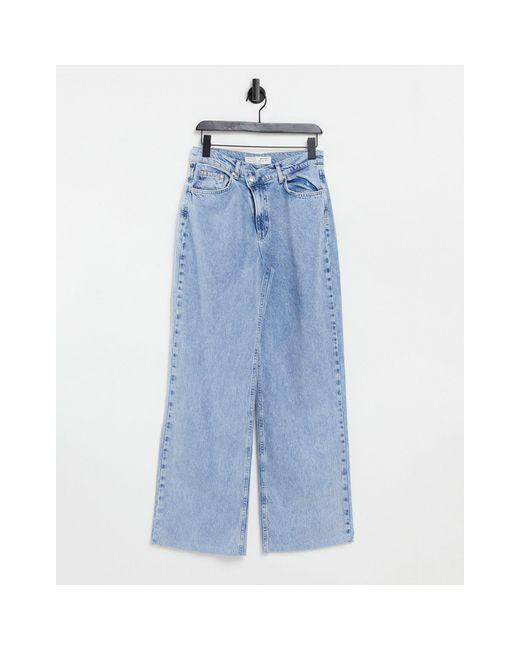 Dad jeans a vita bassa blu slavato di Stradivarius in Blue