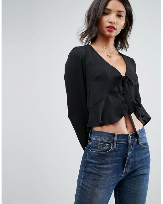 ASOS - Black Ruffle Top With Tie Front - Lyst