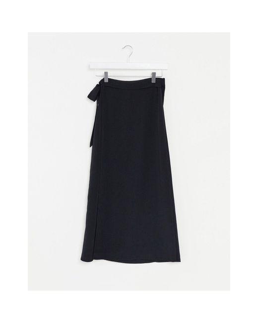 Черная Юбка Миди С Запахом -черный Monki, цвет: Blue