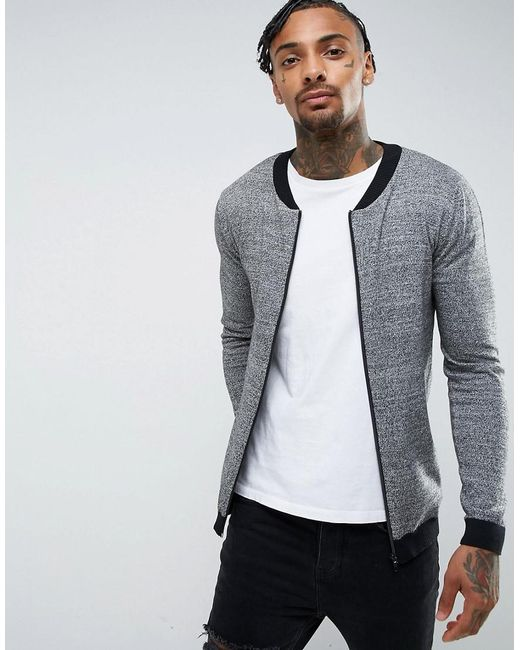 ASOS | Knitted Cotton Bomber With Contrast Trims In Gray Twist for Men | Lyst