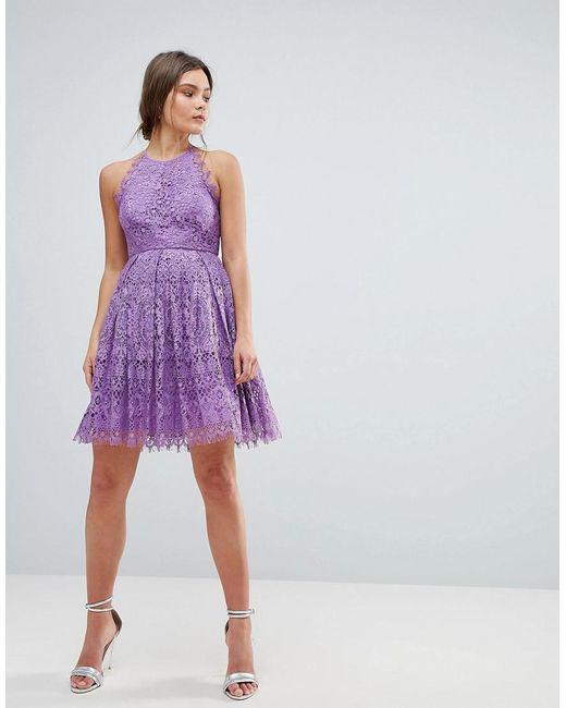 ASOS - Purple Asos Pinny Prom Mini Dress In Lace - Lyst