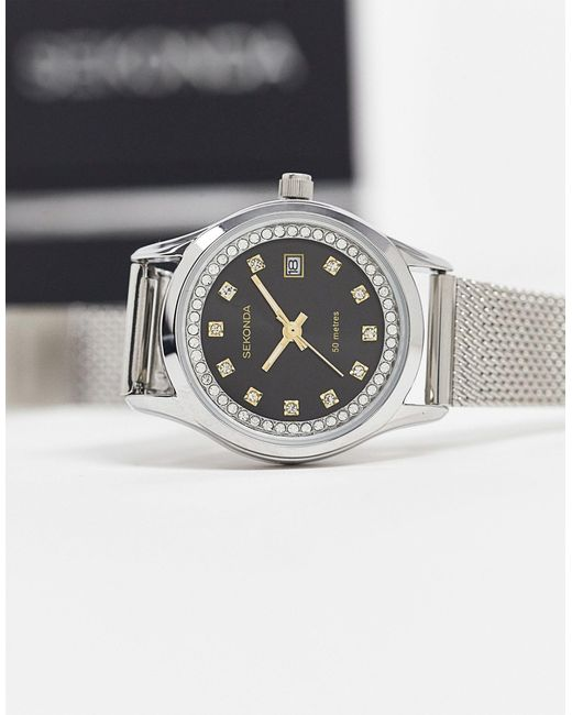 Серебристые Часы С Сетчатым Браслетом И Черным Циферблатом -серебристый Sekonda, цвет: Metallic