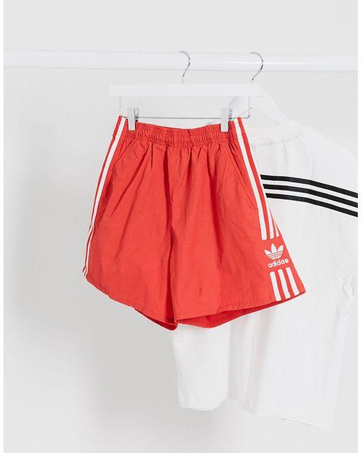Adidas Originals Red Adicolor 3 Stripe Shorts