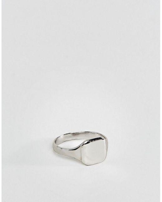 ASOS Silberfarbener Ring für den kleinen Finger in Metallic für Herren