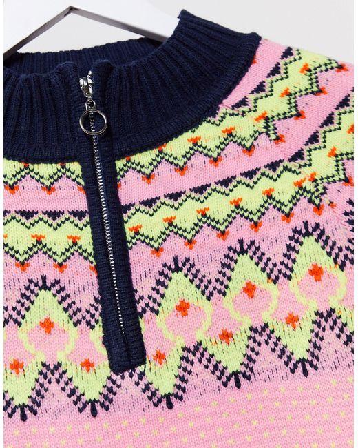 Missguided Pink Zip Front Fairisle Jumper