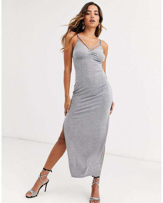 Серебристое Платье Миди На Бретелях -серебряный AX Paris, цвет: Metallic
