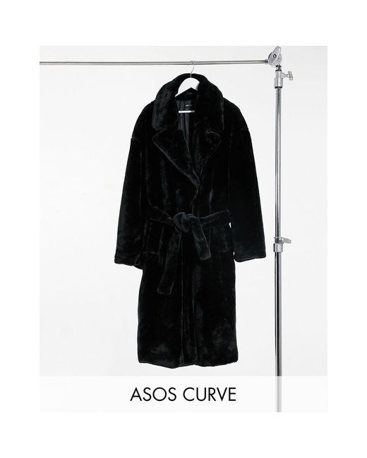 Черное Пальто-тренч Из Искусственного Меха ASOS, цвет: Black