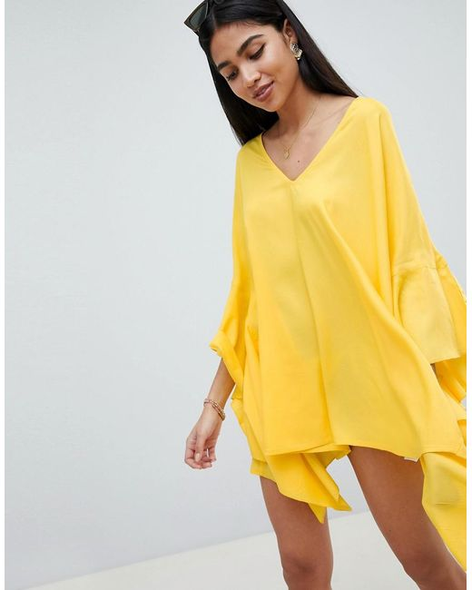 ASOS - Yellow Frill V Plunge Beach Cover Up - Lyst