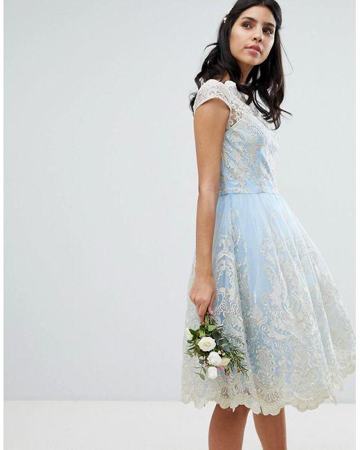 184be769c4d Chi Chi London - Blue Robe de bal de promo mi-longue en dentelle de ...