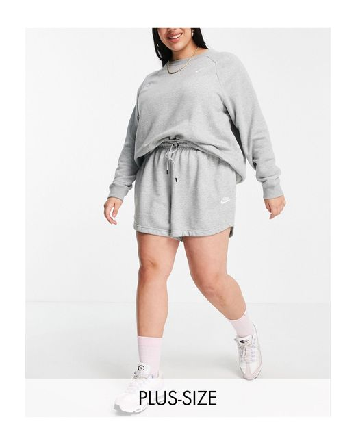 Nike Gray Plus Size Essential Fleece Shorts