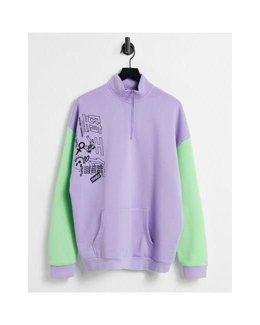 Felpa oversize con collo a imbuto e stampa grafica color block di New Girl Order in Purple