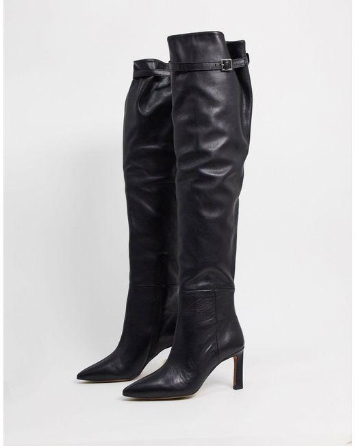 Черные Кожаные Ботфорты На Среднем Каблуке ASOS, цвет: Black