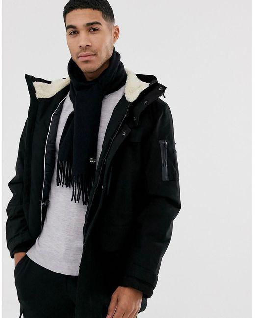 Écharpe en maille - Noir Lacoste pour homme en coloris Black