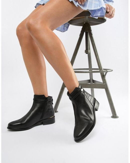 Dune - Peppey Black Leather Croc Mix Flat Ankle Boots - Lyst