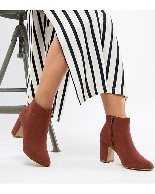 New Look - Orange Suedette Block Heel Boot - Lyst