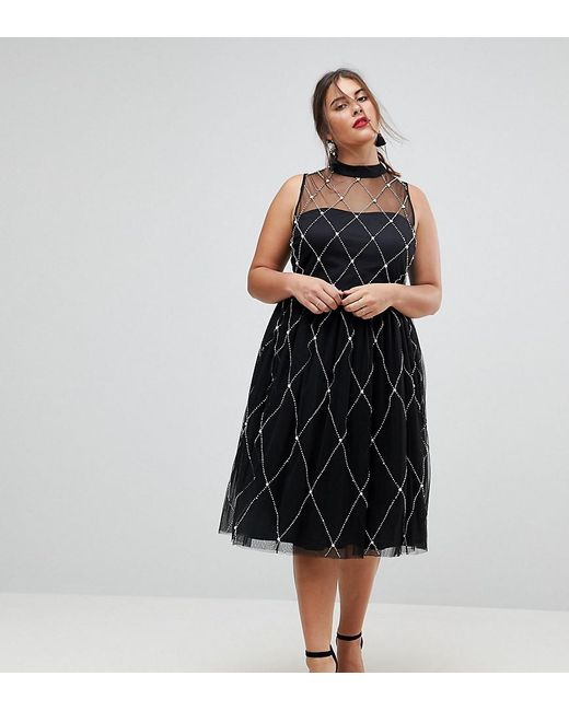 Lyst - Asos Premium High Neck Pearl Embellished Midi Prom Dress in Black