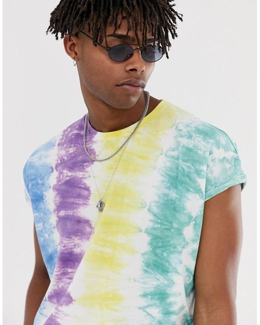 ASOS Oversized T-shirt With Roll Sleeve With Multicolor Vertical Tie Dye Wash for men