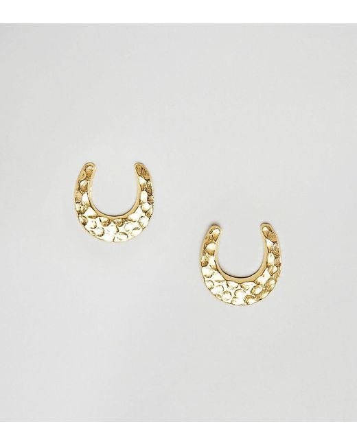 ASOS - Metallic Gold Plated Sterling Silver Stud Earrings In Horse Shoe Design - Lyst