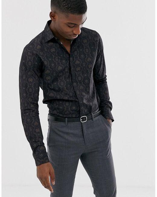 SELECTED Long Sleeve Snake Print Shirt In Black for men