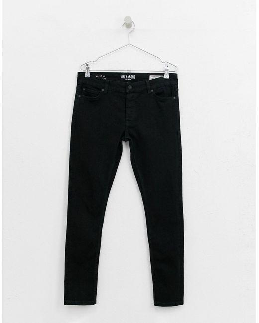 Jeans super skinny neri di Only & Sons in Black da Uomo