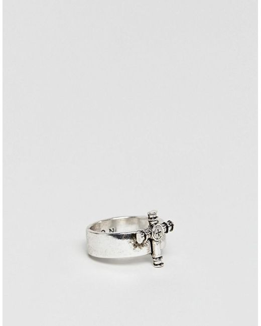 Icon Brand - Metallic Antique Silver Cross Ring for Men - Lyst