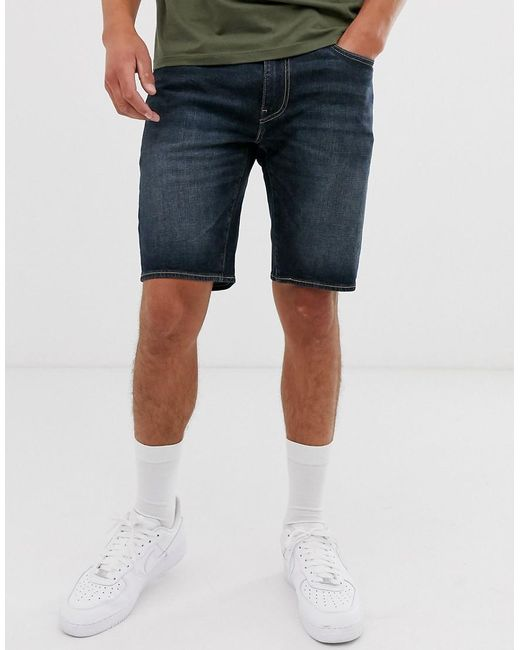 Levi's Blue 502 Tapered Turn Up Indigo Denim Shorts for men