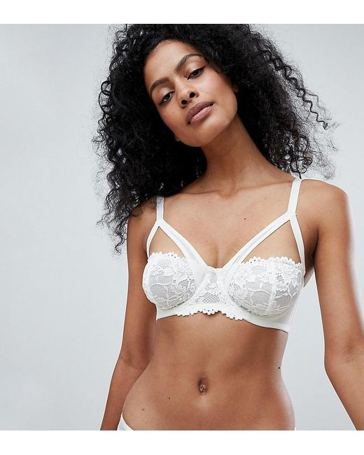 Wolf & Whistle White High Apex Delicate Ivory Bra B - G Cup