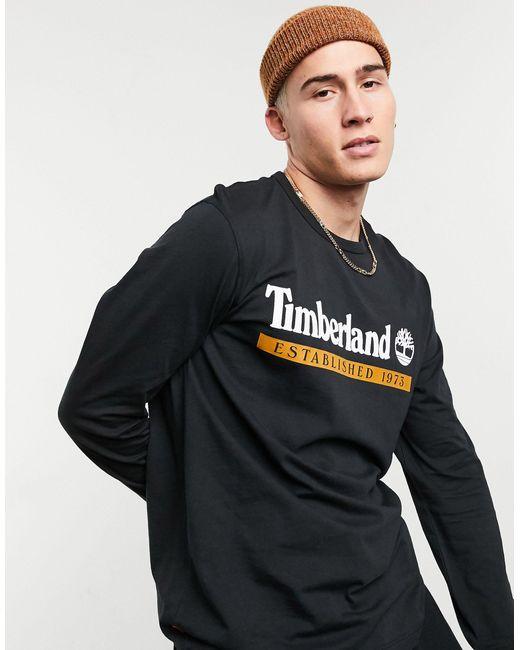 Timberland Black Established 1973 Long Sleeve Top for men