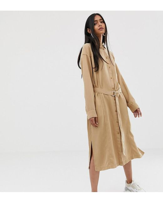 Weekday - Brown Tie Front Shirt Dress In Camel - Lyst