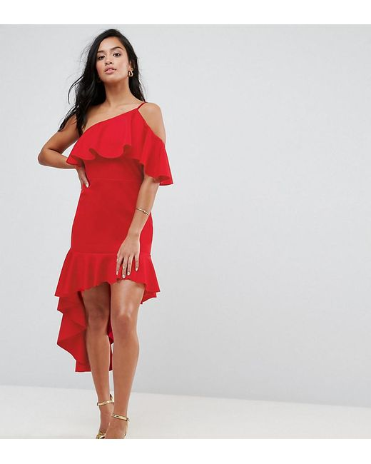 ASOS - Red High Low Ruffle Bodycon Mini Dress - Lyst