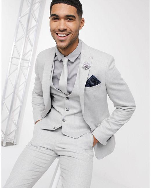 Серый Приталенный Пиджак ASOS для него, цвет: Gray