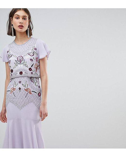 Frock and Frill Purple Allover Beaded Embroidered Midi Dress