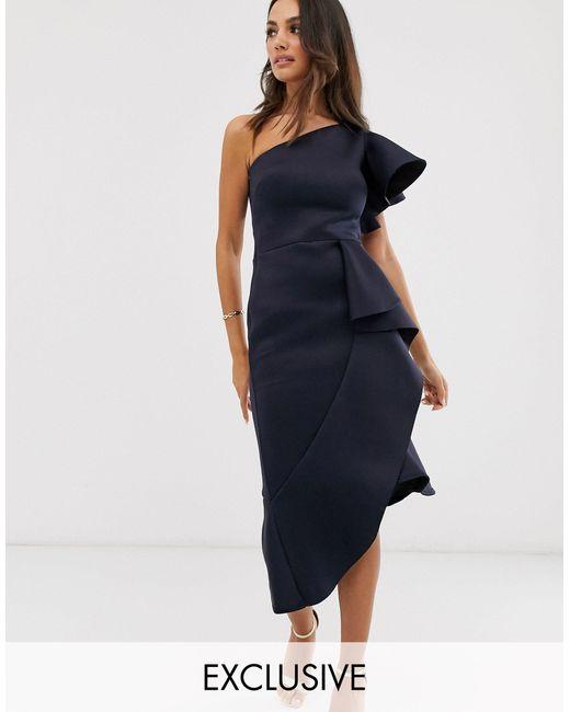 Темно-синее Платье Миди На Одно Плечо Эксклюзивно От -темно-синий True Violet, цвет: Blue