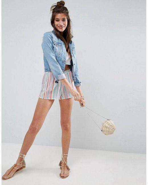 ASOS - Blue Rainbow Stripe Shorts - Lyst