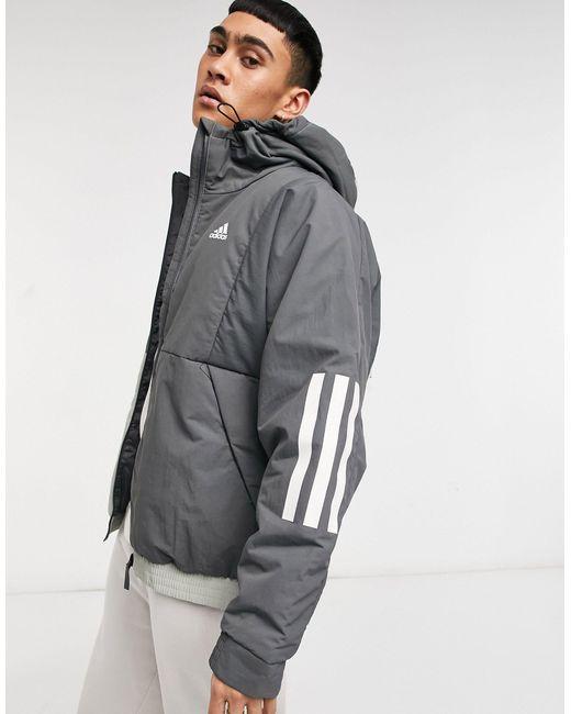 Серая Куртка С Капюшоном -серый Adidas для него, цвет: Gray