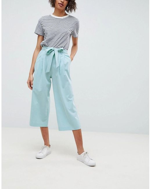 ASOS DESIGN - Blue Mix & Match Culotte With Tie Waist - Lyst