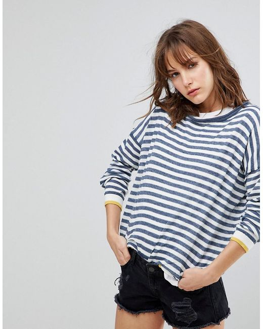 Blend She | Blue Lola Pu Striped Sweater | Lyst