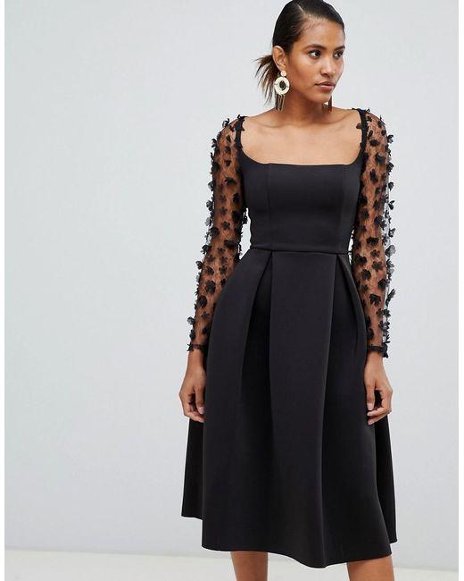 ee5726e99c6 ASOS - Blue Square Neck 3d Floral Lace Midi Prom Dress - Lyst ...