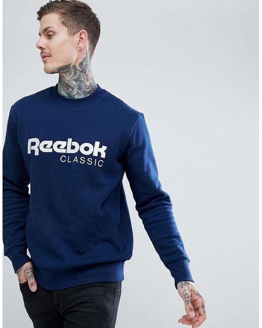0f212c2d9aae Reebok - Black Classic Logo Sweatshirt In Navy Cz0302 for Men - Lyst ...