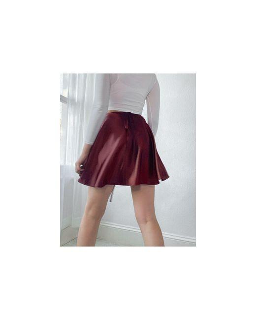 Темно-бордовая Атласная Мини-юбка С Запахом ASOS, цвет: Red
