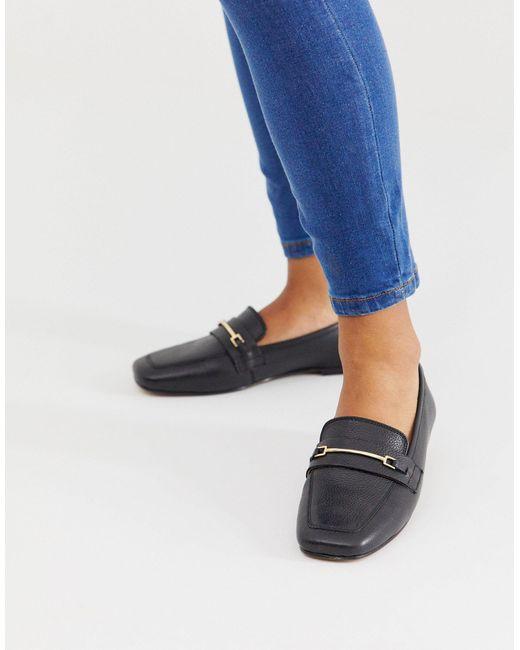 ASOS Mocha - Leren Loafers Met Vierkante Neus in het Black