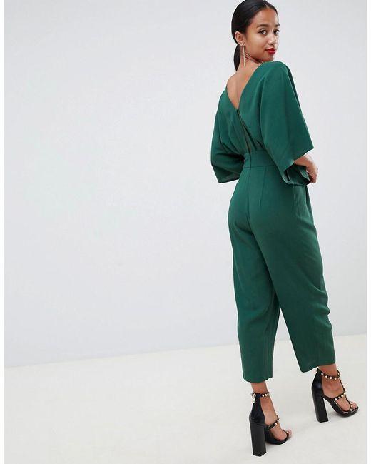 a1c28f8f92c1 ... ASOS - Green Asos Design Petite Jumpsuit With Kimono Sleeve And Peg Leg  - Lyst