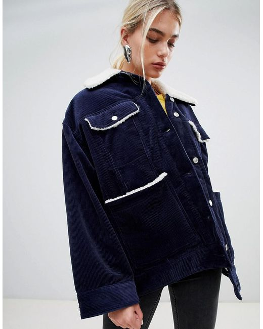 Weekday - Blue Cord Teddy Jacket In Navy - Lyst