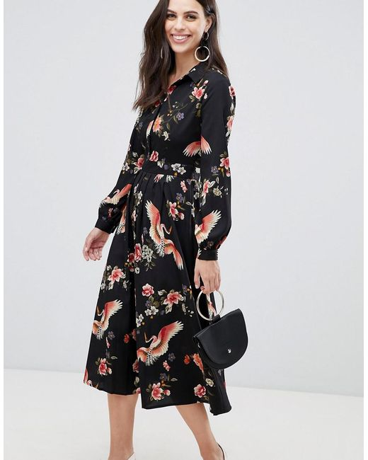 185c9fd1c89 Liquorish - Black Midi Shirt Dress With Pleated Skirt In Floral Print - Lyst  ...