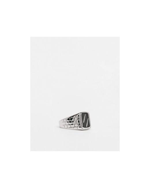 Серебристое Кольцо-печатка Из Нержавеющей Стали С Рельефным Узором ASOS для него, цвет: Metallic