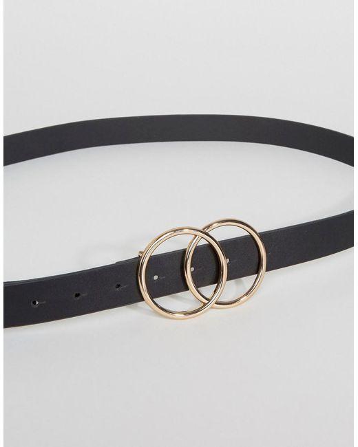 DESIGN leather double circle waist and hip belt - Black Asos mzeKAVRU
