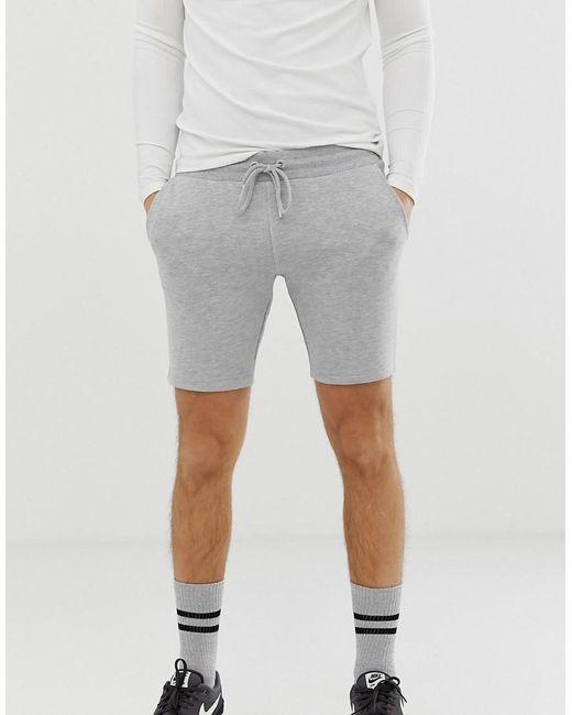 d822c89b70c ASOS - Gray Pantalones cortos ajustados de punto en gris marga for Men -  Lyst ...