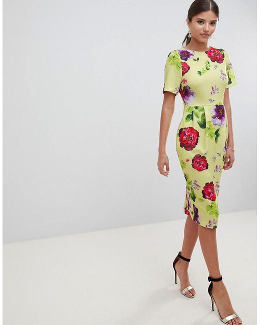 ASOS - Multicolor Yellow Floral Midi wiggle Dress - Lyst