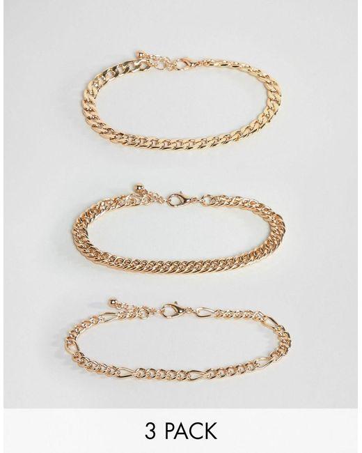 ASOS - Metallic Vintage Style Bracelet Chain Pack In Gold Tone for Men - Lyst